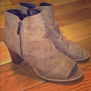 White mountain open toe booties size 7